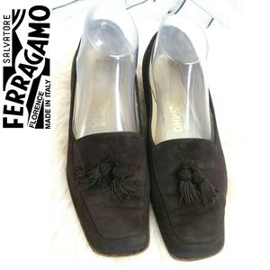 SALVATORE FERRAGAMO Tassel Loafear Leather 8B